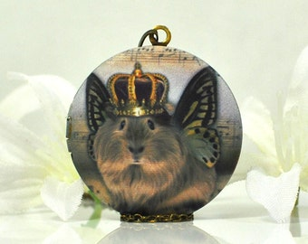 Guinea Pig Kingley - Guinea Pig Jewelry - Unique Pet - Picture Locket - Cavy Gift - Guinea Pig Locket - Winged Guinea Pig Gift -Animal Lover