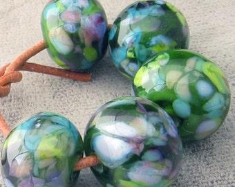 Blooming Meadow Lampwork Spacer Handmade Glass Beads Green Purple Choose 2-6 bead per set