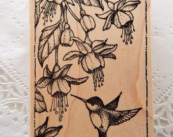 Hummingbird Feeding Rubber Stamp Peddlers Pack Framed Flowers Bird b