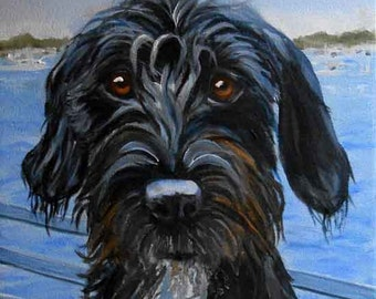Black Dog Pet Portrait Painting with Nautical Background from Annapolis Maryland or any Landscape, Oils on Canvas, Dog Artist Robin Zebley