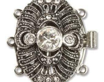 Elegant Elements Clasp, 22mm x 16mm, 3-strand with Crystals (Antique Silver or Antique Gold)