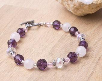 Rose Quartz bracelet - Gemstone and Crystal beaded bracelet   Quartz jewellery   Pink jewelry   Purple bead bracelet   Pretty bling