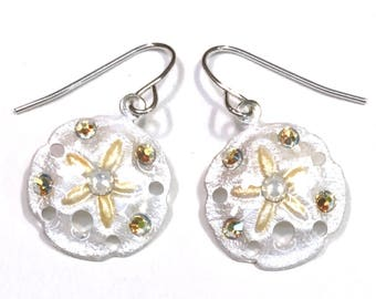 Sand Dollar Earrings Pearlized White with Gold Accents