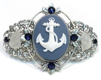 Cameo Hair Barrette Blue and White Anchor with Beach Glass and Crystal Accents