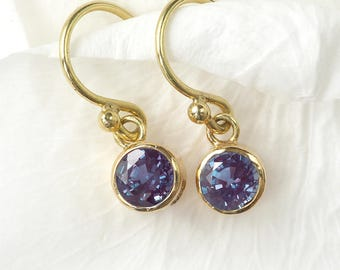 Alexandrite Earrings in 18ct Gold | June Birthstone | Handmade in the UK