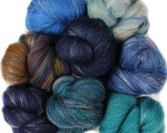 Bayberry -- mini batts (2 oz.) organic polwarth wool, yak, silk, bamboo, sparkle.