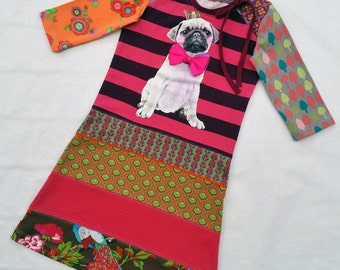 Size 5 upcycled toddlers dress, girls clothing, children's clothing, Christmas gift, girls dress, holiday, ooak, pug, dog, puppie, puppies