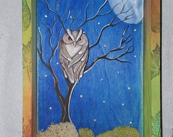 Great Horned Owl Shadow Box with glow in the dark stars Mixed Media