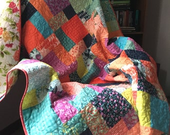 Quilt, Bright floral and plaid, patchwork lap quilt, rose, colorful quilt, handmade blanket, 54 x 63 inches, sofa throw, lightweight quilt