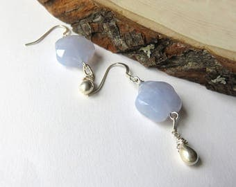 Blue Lace Agate Earrings, Pastel Blue Flowers, Sterling Silver Drops, Cloud Earrings, Blue Gemstones, One of a Kind Jewelry, Gift for Her
