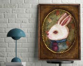 Danita white rabbit Alice wonderland surreal pop painting / whimsical folk art illustration / home decor / weird animal / Fine art bunny