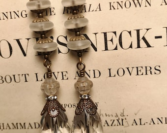 Long Crystal and Antique Brass Art Deco Vintage Inspired Drop Earrings Wedding or Bridal