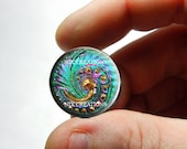 Iridescent Rainbow Swirl Czech Button Design 25mm 20mm 16mm 12mm 10mm or 8mm Glass Cabochon  - for Jewelry and Pendant Making