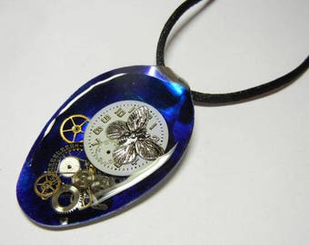 Steampunk Butterfly Altered Art Watch Parts and Gears Resin Vintage Spoon Pendant with Necklace