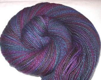 Handspun yarn, hand painted yarn, Polwarth yarn, hand dyed yarn, sportweight yarn, blue yarn, purple yarn, CONIMAR,320yds