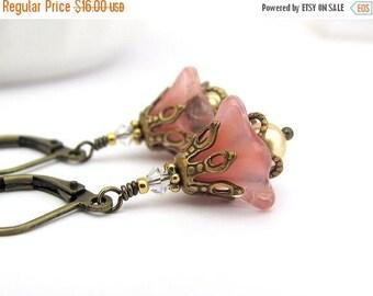 Fairy Woodland Flower Earrings Peach Pink, Swarovski Pearls Antiqued Brass, Dangle Drop, Clip On Earrings