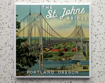 St. Johns Bridge Portland Oregon Tile Coaster
