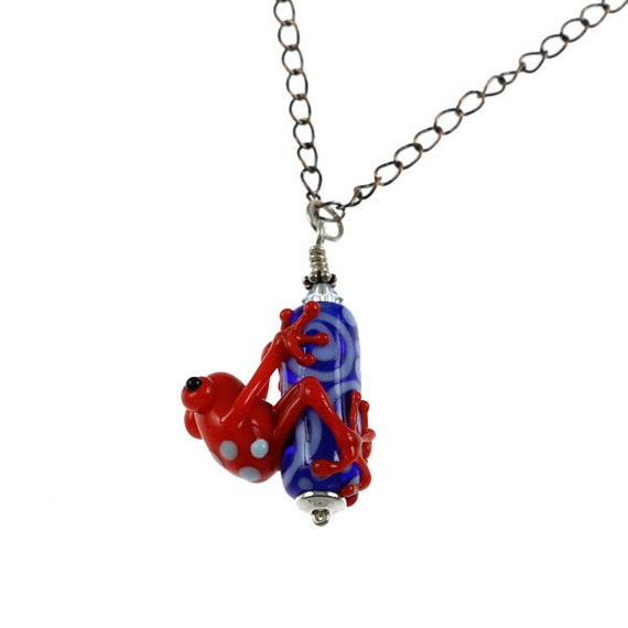 Red Zinger - Lampwork Frog Necklace