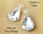 Crystal Glass Beads - 13mm x 7mm Pear or Teardrop - Silver or Brass Prong Settings - Glass Gems - Rhinestones - One Pair