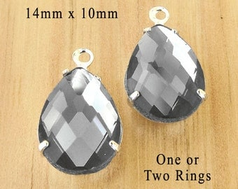 Black Diamond Glass Beads, Pear or Teardrop, Silver or Brass Settings, 14mm x 10mm, Gray, Rhinestone, Cabochon, Glass Gems, One Pair