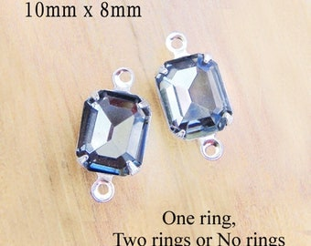 Black Diamond Glass Beads - 10mm x 8omm Octagons in Silver or Brass Settings - Glass Gems - Set Rhinestones - One Pair