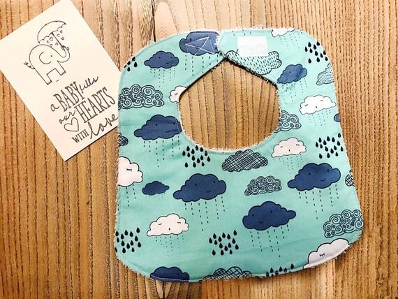 Clouds Baby Bib, Baby Boy Bib, Infant Bib, Baby Shower Gift, Drool Bib