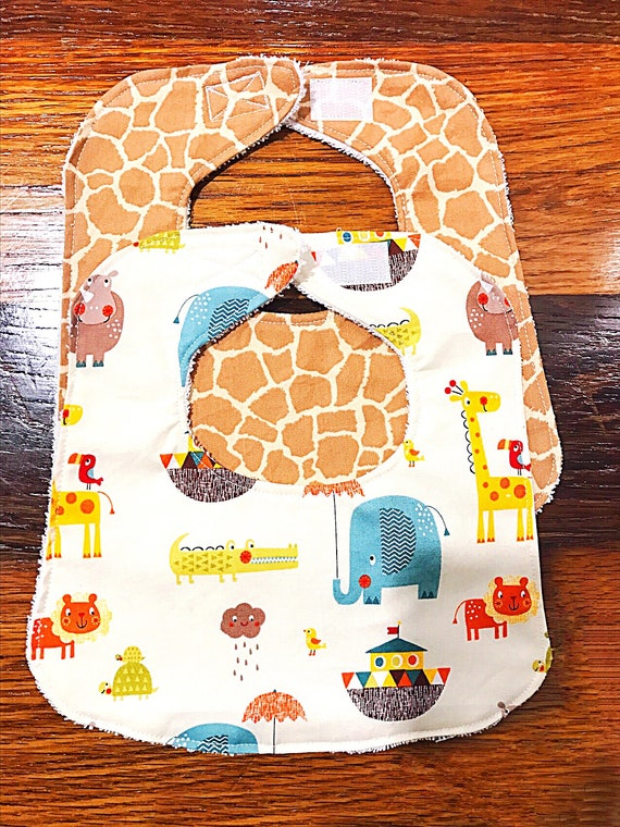 Baby Bibs, Set Of 2, Drool Bib, Baby Bib Set, Baby Boy Bibs, Jungle Friends Bibs, Infant Bibs