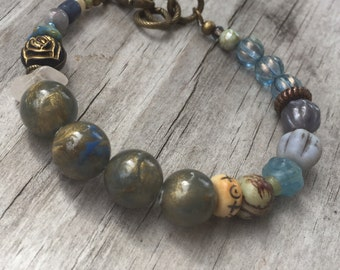 BOHO Stack BRACELET with Vintage beads, Gemstones and Antique Brass; Adjustable Length; BLUEs and Greens