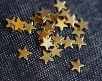 Tiny Simple Star Stampings 6mm - Raw Brass - 36pcs - Tiny Star, Plain Smooth Star, Gold Star, Small Star Cabochon Little Star Cab Brass Star