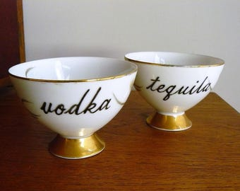 Vodka Tequila hand painted vintage porcelain teacups recycled humor boozy tea party