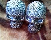 Vintage 1990s Cufflinks Skull Sterling Silver Day of the Dead OOAK 20170204J319