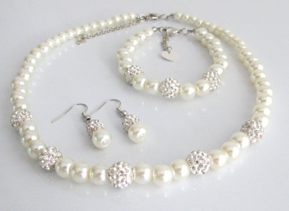 Bridesmaid pearl and rhinestone Necklace Set, Wedding Jewelry Set, Bridal Jewelry,Gifts from Bride, Mother in law gift, Free Shipping In USA