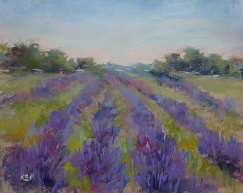 LAVENDER Field purple Landscape Wildflowers 8x10  Original Pastel Painting