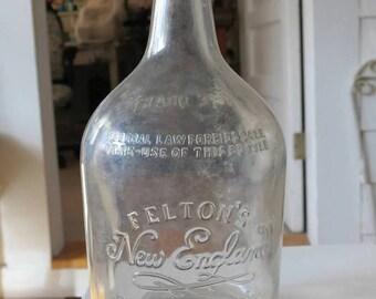 Vintage Rum Bottle, Felton's New England Rum, 1940s Collectible Glass Liquor Bottle, Prohibition Warning