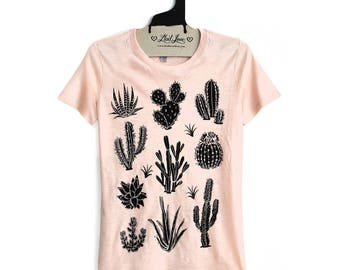 SALE Fitted XL - Peach Fitted Crew Neck Slub Tee with Cactus Screen Print-