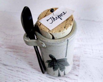 Pottery Spice Jar with Flowers