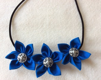 Royal Blue Silver Button Fabric Flower Statement Necklace