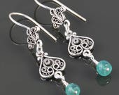 Genuine Emerald Earrings. Sterling Silver. Turkish Filigree. May Birthstone. s17e056