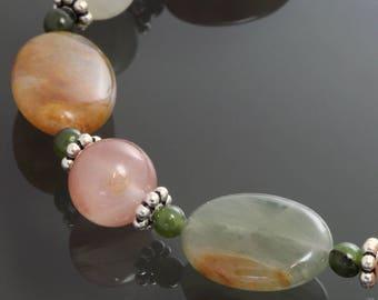 CLEARANCE. Agate and Jade Bracelet. Sterling Silver. Genuine Gemstones. Autumn Colors. Adjustable Bracelet. Size Medium Large. f12b003