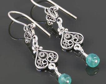 Genuine Emerald Earrings. Sterling Silver. Turkish Filigree. May Birthstone. s17e056