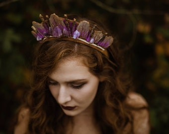 Amethyst Quartz and Eucalyptus Crystal Crown - by Loschy Designs