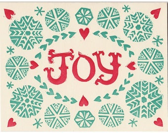 JOY block printed cards - set of five greeting cards