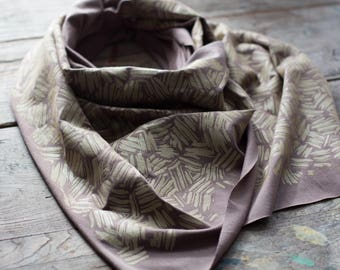 Soft and silky gray bamboo scarf with hand-printed gold Brushstrokes pattern. Abstract, texture, handmade gift, light weight, gift, Maine
