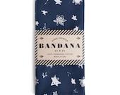 Navy Blue Star Field Bandana, Hand Screen Printed and Soft