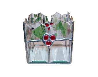Holly Berry Votive Stained Glass Candle  Holder