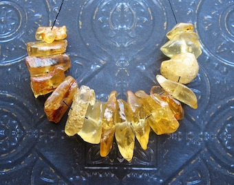 Free Form Baltic Amber Bead Set - 16 pieces - 5 to 6mm by 10 to 20mm