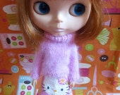Blythe Pink Sweater and Skirt Set in soft angora yarn