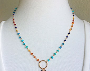 Lapis Asymmetrical Circle Necklace