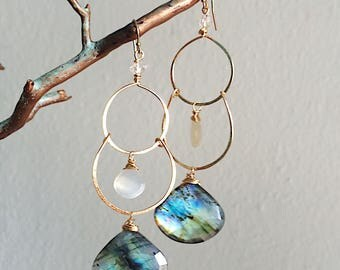 Laneadorite and Moonstone Tiered Earrings
