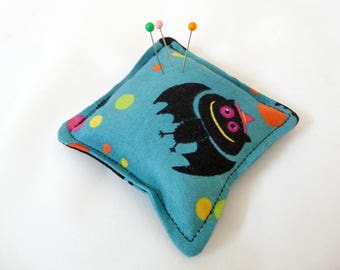 Teal Party Bat Pincushion filled with walnut shells
